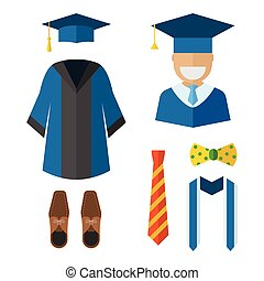 Graduation Clothing and Accessories Icons