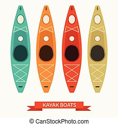 Kayak Boats Colorful Icons - Kayaking boats in different...