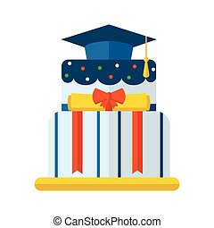 Graduation Cake Flat Vector Icon