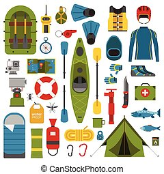Print - Rafting and kayaking icons collection. River camping...