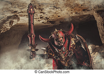 Attack of powerful knight in heavy armor on the dungeon...