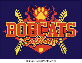 bobcats softball team design with flaming paw print for...