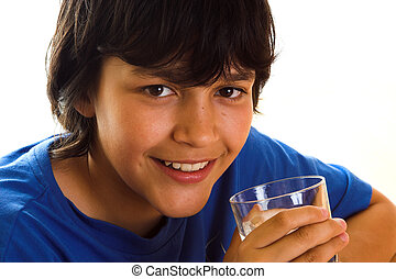Water with a smile - Boy drinking water with a smile