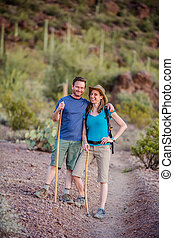 Affectionate Couple on Nature Trail