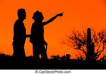 Hiker Couple Silhouettes