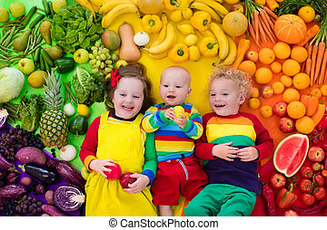 Healthy fruit and vegetable nutrition for kids - Boy, girl...