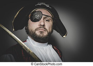 man pirate with eye patch and old hat with funny faces and...
