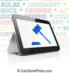 Law concept: Tablet Computer with Gavel on display - Law...