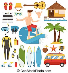 Surfing Time Vector Elements Set