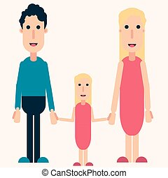 Happy family color vector, love, friendship, girl, man, woman