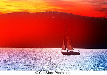 yacht - the white yacht on sunset lake