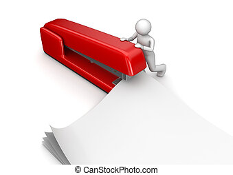 Business collection - Stapler - 3d characters isolated on...