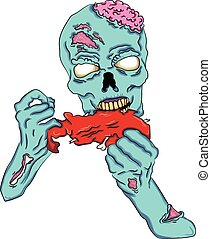 Zombie eating a piece of meat