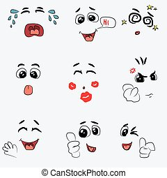 Set of cute emotion vector