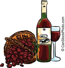 illustration of red grape with bottle red wine and glass...