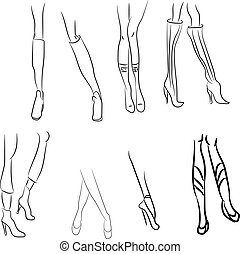 Female legs set. Sexually young femininity sexy logotype, outline attractive