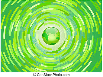 abstract background - Vector illustration - Green planet...