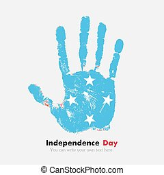 Handprint with the Flag of Micronesia in grunge style - Hand...