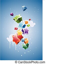 Colorful Stars Background - great for greeting and birthday...