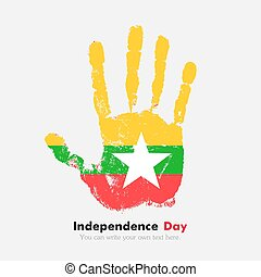 Handprint with the Flag of Myanmar in grunge style