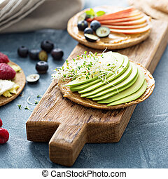 Wholegrain bread with variety of toppings - Wholegrain toast...