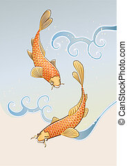 two koi carps - Vector illustration of two koi carps...