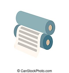 Two rollers with a paper between them icon in cartoon style...