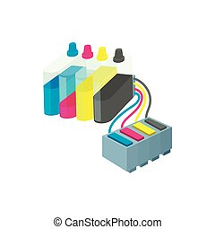 Cartridges for colour inkjet printer icon in cartoon style...