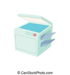 Multipurpose device, fax, copier and scanner icon in cartoon...