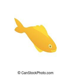 Yellow marine fish icon, isometric 3d style - Yellow marine...