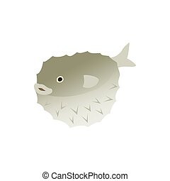 Puffer fish icon, isometric 3d style - Puffer fish icon in...
