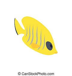 Fish yellow tang icon, isometric 3d style - Fish yellow tang...
