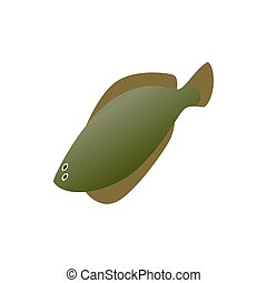 Fish flounder icon, isometric 3d style - Fish flounder icon...