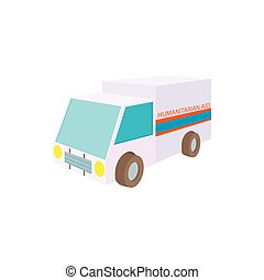 Humanitarian aid car icon, cartoon style - Humanitarian aid...