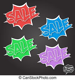 Vector Sale concept in comics bubbles