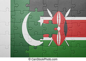 puzzle with the national flag of kenya and pakistan.