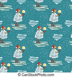 Winter backdrop with sheeps - Seamless pattern with lambs....