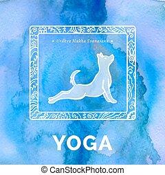 Yoga poster with yoga pose - Vector yoga illustration. Yoga...