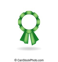 Decoration from green ribbon - Vector rosette Decoration...