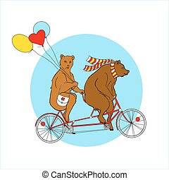 Couple on a tandem bicycle Advertising for bike rental Bears...