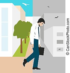 Worker, man, was fired - Vector illustration. Worker, man,...