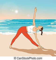 Girl in yoga's asana on the beach (triangle asana). Vector...