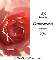 Romantic template with rose petals - Invitation card with a...