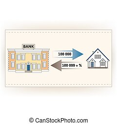 u041Cortgage loan to buy a house - Vector illustration:...