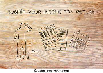 stressed man and tax forms, submit your income tax return -...