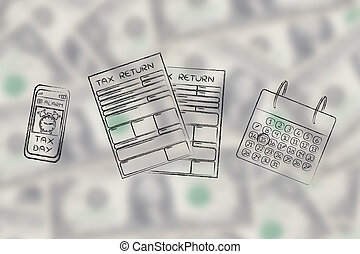 tax return papers with calendar & phone alert - tax return...