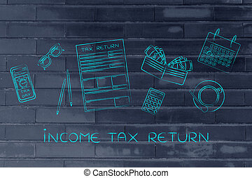 tax forms with office desk objects & phone alert, caption...