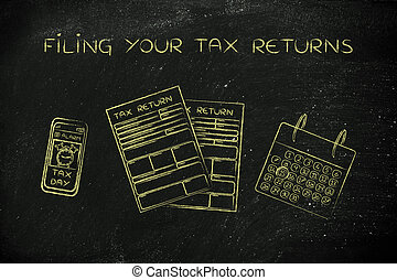 tax return papers with calendar & phone alert,filing your...
