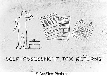 stressed man and tax forms, selfassessment tax returns -...