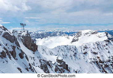 view from the top of the Zugspitze in the Alps